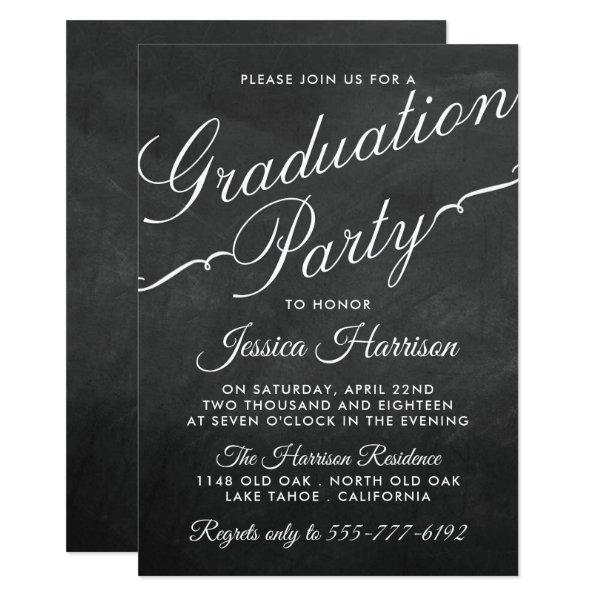 Fancy Chalkboard Typography Graduation Party Card