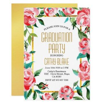 Fancy Gold Red Roses Floral Graduation Party Invitation