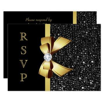 Faux Black Sequins Gold Bow RSVP Card