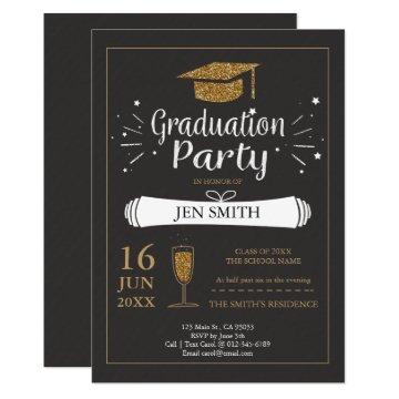 Faux Gold Glitter Cap Graduation Party