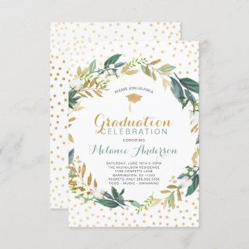 Faux Gold Greenery Wreath + confetti Graduation Invitation