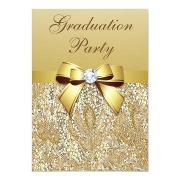 Faux Gold Sequins and Bow Girls Graduation Party Invitation