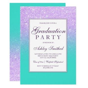 Faux lavender glitter turquoise Graduation party Card