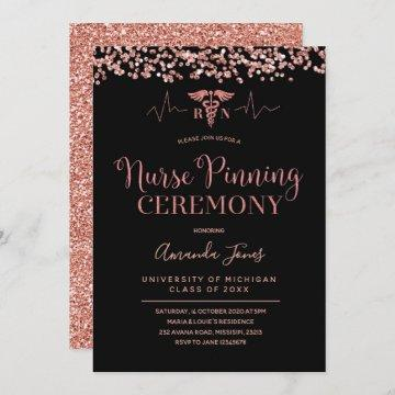 FAUX ROSE GOLD Black Nurse Pinning Ceremony Invitation