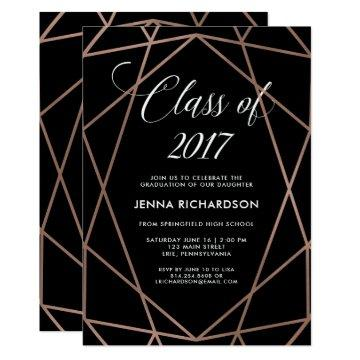 Faux Rose Gold Geometric on Black Graduation Party Card