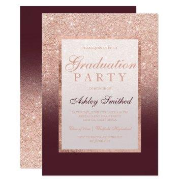 Faux rose gold glitter burgundy Graduation party Card