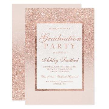 Faux rose gold glitter elegant Graduation party Invitation