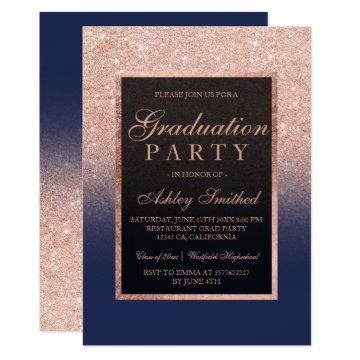 Faux rose gold glitter navy blue Graduation party Card
