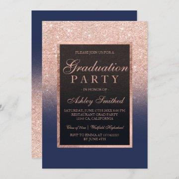 Faux rose gold glitter navy blue Graduation party Invitation
