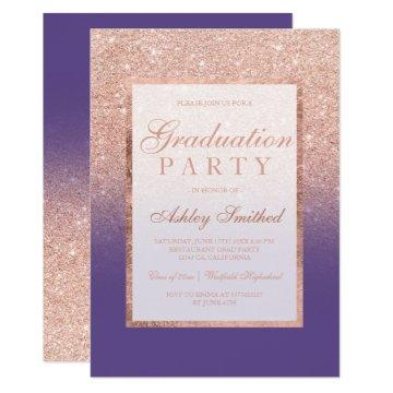 Faux rose gold glitter purple Graduation party Card