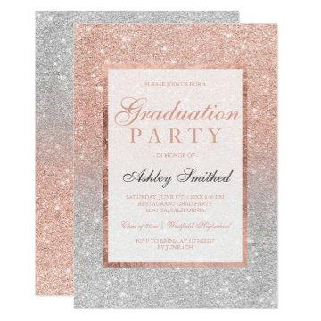 Faux rose gold glitter silver Graduation party