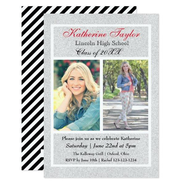 Faux Silver Glitter - 3x5 Graduation Announcement