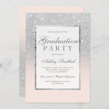 Faux silver glitter blush pink Graduation party Invitation