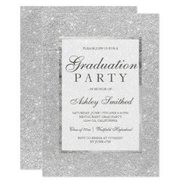 Faux silver glitter elegant Graduation party Invitation