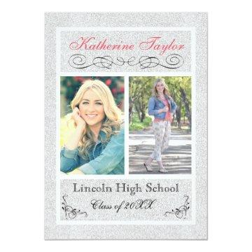 Faux Silver Glitter - Graduation Announcement
