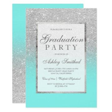Faux silver glitter teal Graduation party