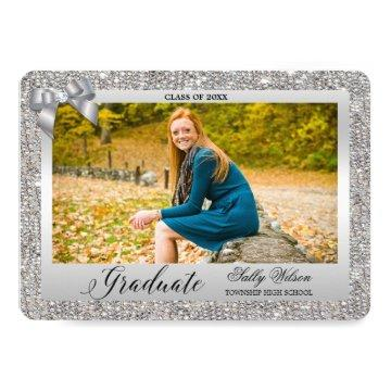 Faux Silver Sequins Bow Girls Graduation Photo Invitation