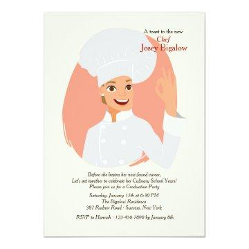 Female Chef Graduation Invitation
