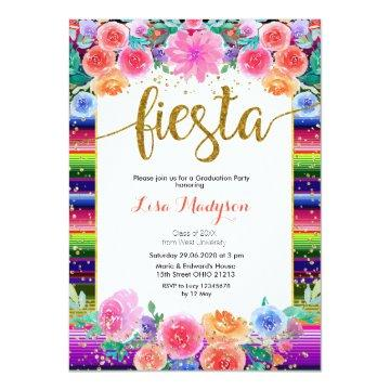 Fiesta Floral Graduation Invitation Party Mexican