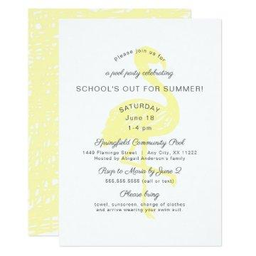Flamingo end of school year party invitation