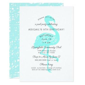 Flamingo pool party invitation in aqua