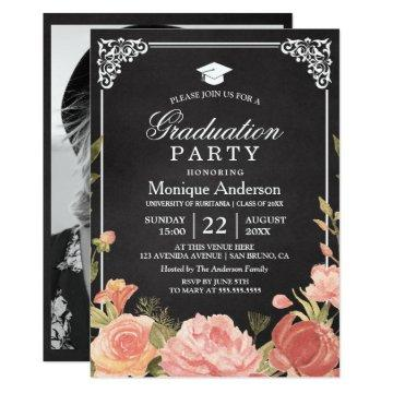 Floral Bouquet on Chalkboard | Graduation Photo Invitation