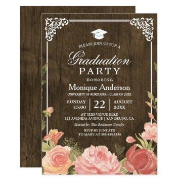 Floral Bouquet on Rustic Wood | Graduation Photo Card