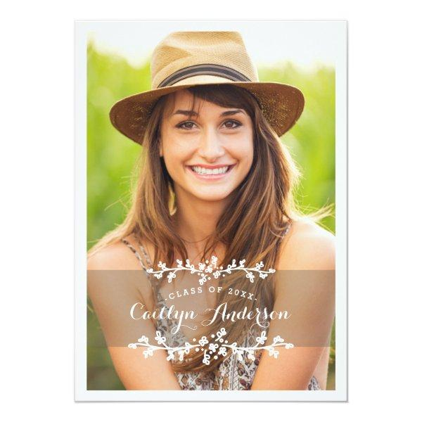 Floral Chic Photo Graduation Party Announcement