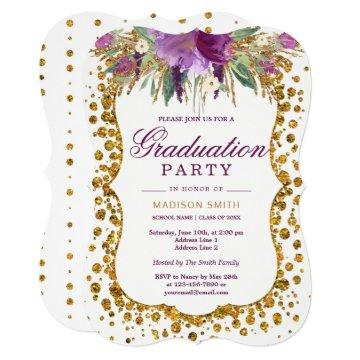 Floral Faux Gold Glitter Confetti Graduation Party Card