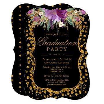Floral Faux Gold Sparkle Confetti Graduation Party Invitation