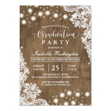 Floral Lace String Light Rustic Graduation Party Magnetic Card