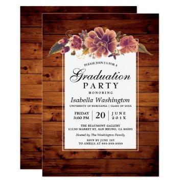 Floral Rustic Barn Wood Graduation Party Card