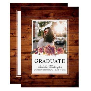 Floral Rustic Barn Wood Photo Graduation Party Card