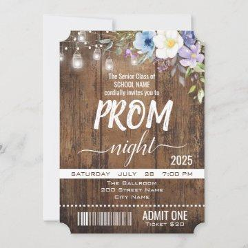 Floral Rustic Graduation Prom Night Ticket Invitation