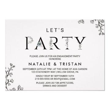 Floral Typography Let's Party Card