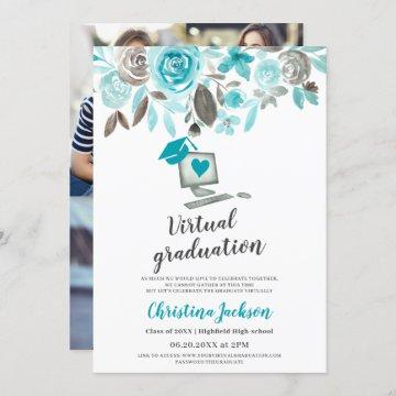 Floral watercolor cap photo virtual graduation invitation