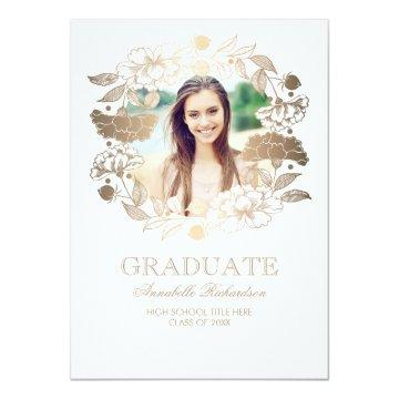 Floral Wreath Photo Frame Graduation Card