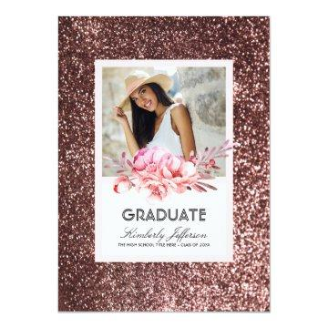 Flowers and Rose Gold Glitter Photo Graduation Card