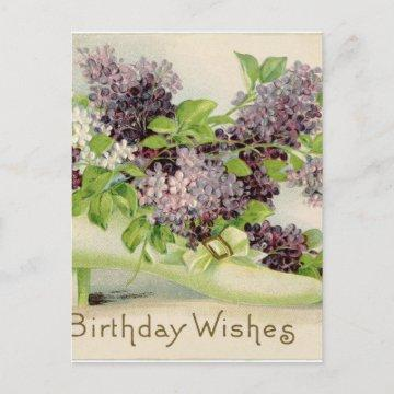 flowers Vintage Birthday party blossoms petals  Postcard