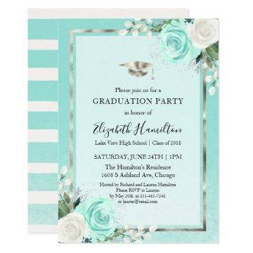 Foil Silver & Teal Modern Floral Graduation Party