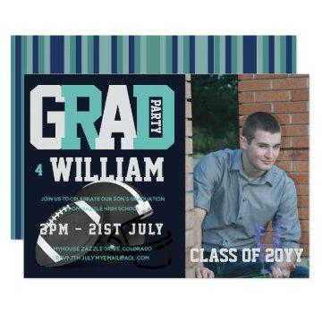 Football GRADUATION PHOTO Invitations Blue
