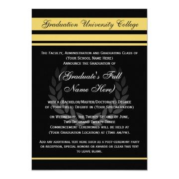 Formal College Graduation Announcements ~ Black
