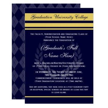 Formal College Graduation Announcements ~ Blue