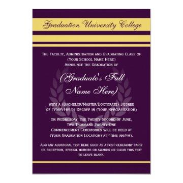 Formal College Graduation Announcements ~Purple