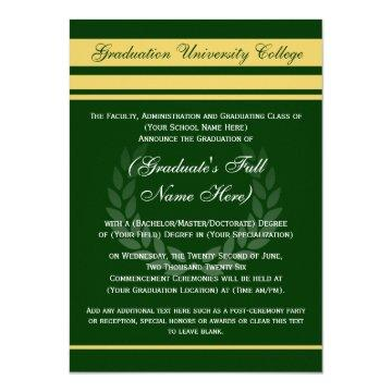 Formal College Graduation Green/Gold Card