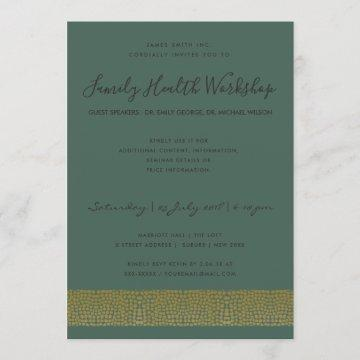 FORMAL FAUX GOLD GREEN MOSAIC DOTS WORKSHOP EVENT INVITATION