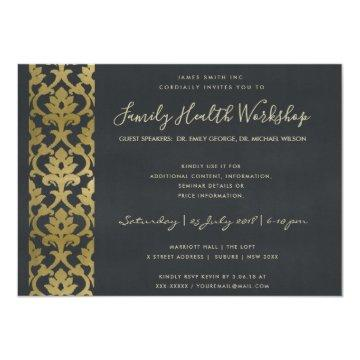 FORMAL FAUX GOLD NAVY DAMASK WORKSHOP EVENT