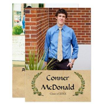 Formal Leaf - 3x5 Graduation Announcement