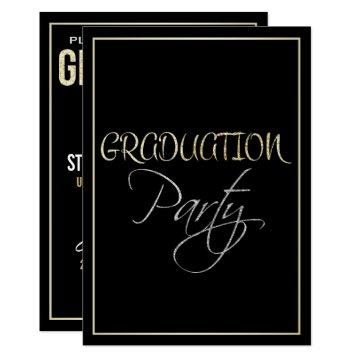 Formal Silver Black and Gold Graduation Party Card
