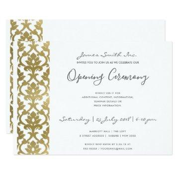 FORMAL WHITE  FAUX GOLD DAMASK OPENING CEREMONY